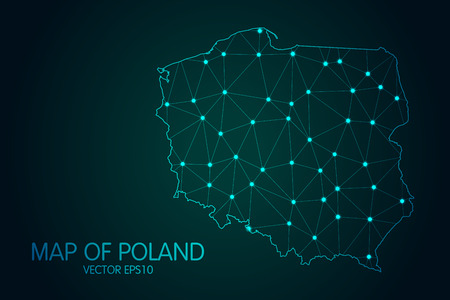 Map of Poland - With glowing point and lines scales on The dark gradient background.
