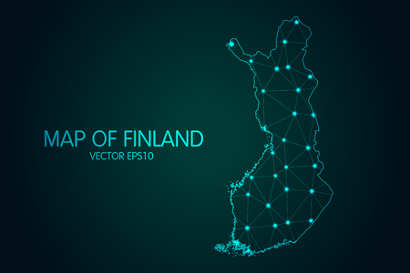 Map of Finland - With glowing point and lines scales on the dark gradient background, 3D mesh polygonal network connections.Vector illustration eps 10. Çizim