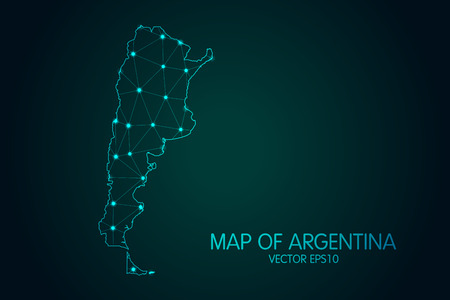 Map of Argentina with glowing point and lines scales on the dark gradient background, 3D mesh polygonal network connections vector illustration.