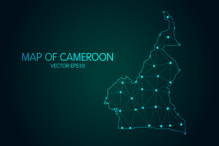 Map of Cameroon - With glowing point and lines scales on the dark gradient background, 3D mesh polygonal network connections.