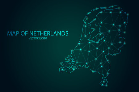 Mappa dei Paesi Bassi - Con punti luminosi e scale di linee sullo sfondo sfumato scuro, connessioni di rete poligonali mesh 3D.