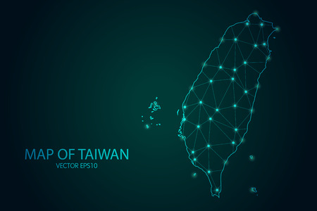 Map of Taiwan - With glowing point and lines scales on The Dark Gradient Background, 3D mesh polygonal network connections.
