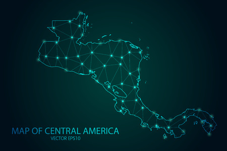 Map of Central America - With glowing point and lines scales on the dark gradient background, 3D mesh polygonal network connections. Vetores
