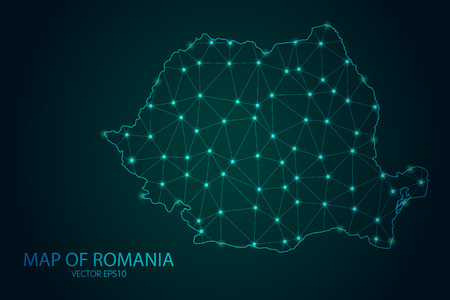 Map of Romania - With glowing point and lines scales on the dark gradient background, 3D mesh polygonal network connections.Vector illustration eps 10.