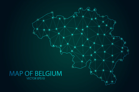 Map of Belgium - With glowing point and lines scales on the dark gradient background, 3D mesh polygonal network connections.Vector illustration eps 10.