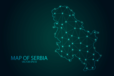 Map of Serbia - With glowing point and lines scales on the dark gradient background, 3D mesh polygonal network connections.Vector illustration eps 10.
