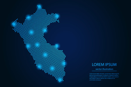Abstract image Peru map from point blue and glowing stars on a dark background. vector illustration. Vector Illustration