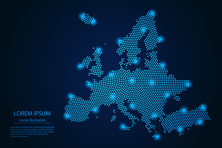 Abstract image Europe map from point blue and glowing stars on a dark background. vector illustration. Vector eps 10.