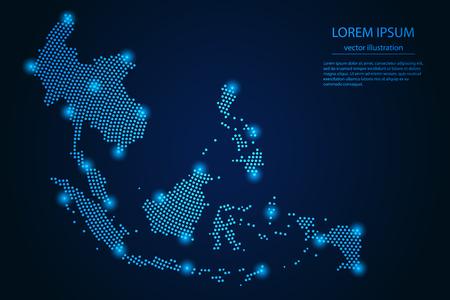 Immagine astratta Mappa del sud-est asiatico dal punto blu e stelle luminose su uno sfondo scuro. illustrazione vettoriale Vettore eps 10. Vettoriali