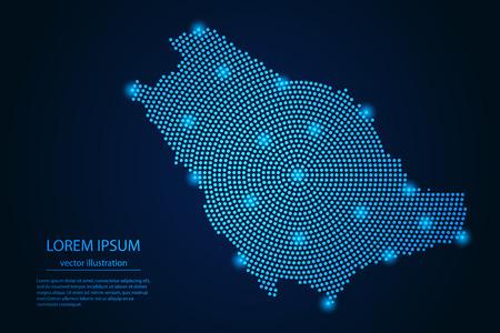 Abstraktes Bild Saudi-Arabien Karte von Punkt blau und leuchtenden Sternen auf dunklem Hintergrund. Vektor-Illustration. Vektorgrafik