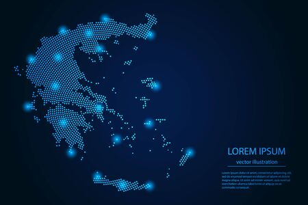 Abstract image Greece map from point blue and glowing stars on a dark background. vector illustration. Vector eps 10.