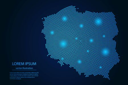Abstract image Poland map from point blue and glowing stars on a dark background. vector illustration.