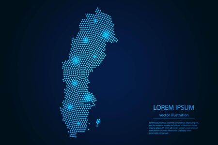 Abstract image Sweden map from point blue and glowing stars on a dark background. vector illustration.