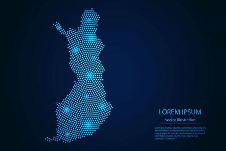 Abstract image Finland map from point blue and glowing stars on a dark background. vector illustration.