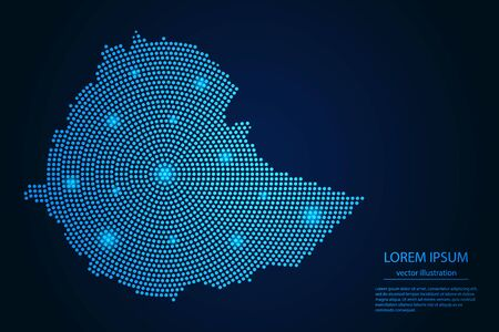 Abstract image Ethiopia map from point blue and glowing stars on a dark background. vector illustration.