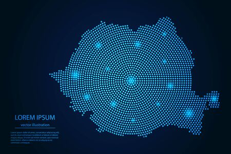 Abstract image Romania map from point blue and glowing stars on a dark background. vector illustration. Ilustracja