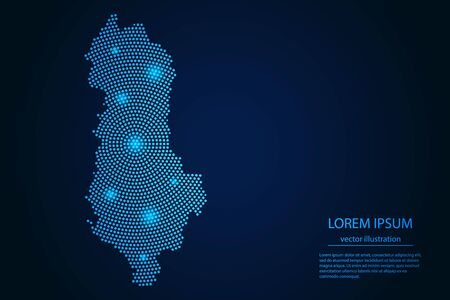 Abstract image Albania map from point blue and glowing stars on a dark background. vector illustration.
