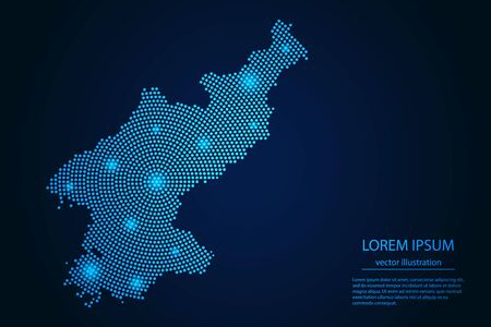 Abstract image North Korea map from point blue and glowing stars on a dark background. Vector Illustration.