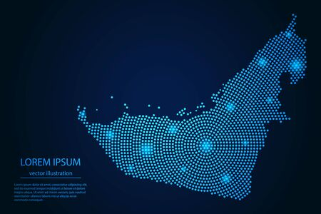Abstract image United Arab Emirates map from point blue and glowing stars on a dark background. Vector Illustration. 向量圖像