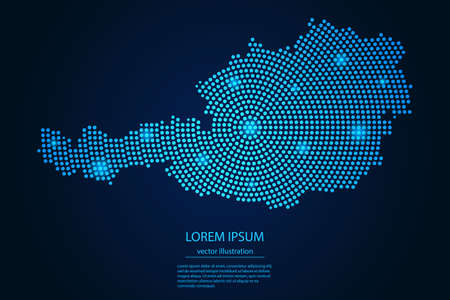 Abstract image Austria map from point blue and glowing stars on a dark background. vector illustration.