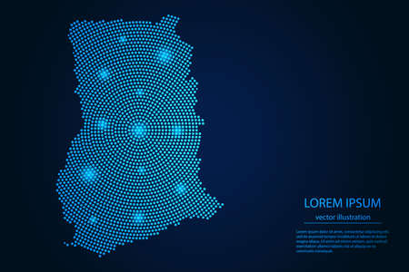 Abstract image Ghana map from point blue and glowing stars on a dark background. vector illustration. Illustration