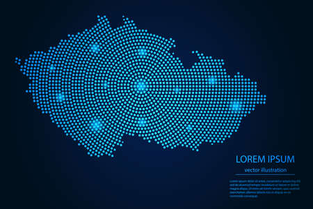 Abstract image Czech map from point blue and glowing stars on a dark background. vector illustration.