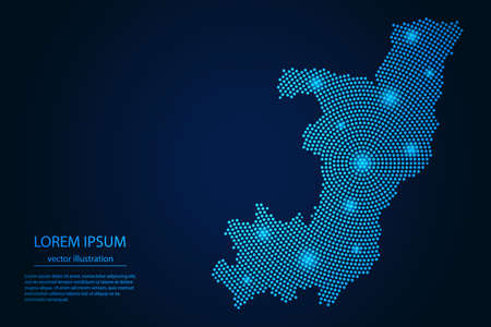 Abstract image Congo map from point blue and glowing stars on a dark background. vector illustration.