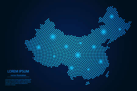 Abstract image China map from point blue and glowing stars on a dark background. vector illustration.