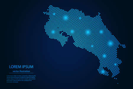 Abstract image Costa Rica map from point blue and glowing stars on a dark background. vector illustration.