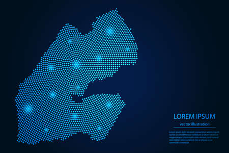 Abstract image Djibouti map from point blue and glowing stars on a dark background. vector illustration.