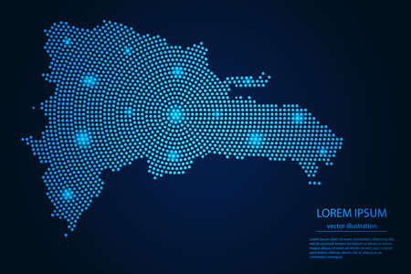 Abstract image Dominican Republic map from point blue and glowing stars on a dark background. vector illustration.  イラスト・ベクター素材