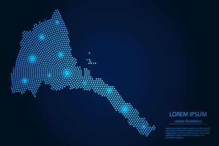 Abstract image Eritrea map from point blue and glowing stars on a dark background. vector illustration. Illustration