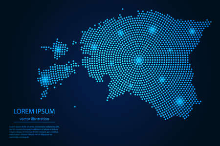 Abstract image Estonia map from point blue and glowing stars on a dark background. vector illustration.
