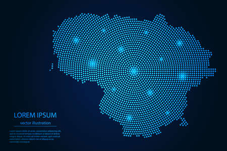 Abstract image Lithuania map from point blue and glowing stars on a dark background. vector illustration.