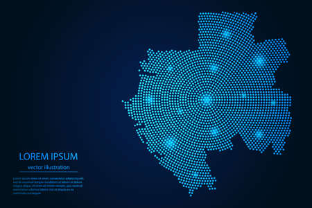 Abstract image Gabon map from point blue and glowing stars on a dark background. vector illustration. Illustration