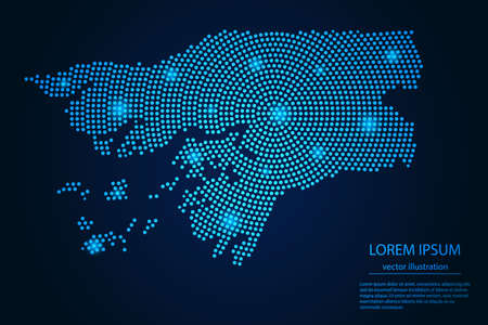 Abstract image Guinea Bissau map from point blue and glowing stars on a dark background. vector illustration.
