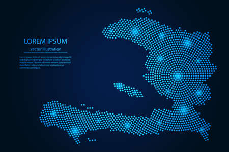 Abstract image Haiti map from point blue and glowing stars on a dark background. vector illustration.