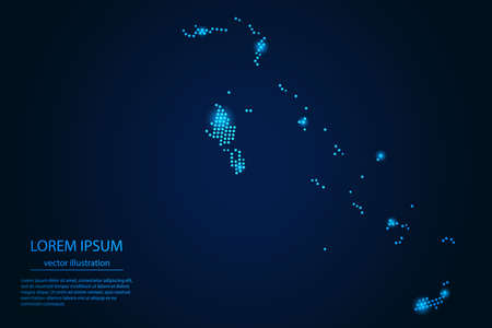 Abstract image The Bahamas map from point blue and glowing stars on a dark background. vector illustration. Illustration