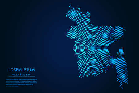 Abstract image Bangladesh map from point blue and glowing stars on a dark background. vector illustration.