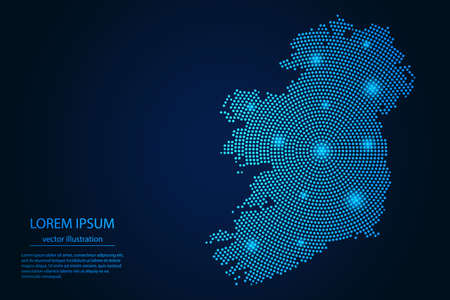 Abstract image Ireland map from point blue and glowing stars on a dark background. vector illustration. 矢量图像