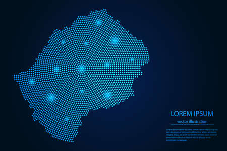 Abstract image Lesotho map from point blue and glowing stars on a dark background. vector illustration.