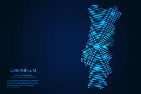 Abstract image Portugal map from point blue and glowing stars on a dark background. vector illustration.