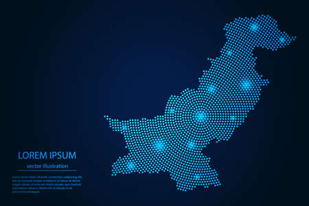 Abstract image Pakistan map from point blue and glowing stars on a dark background. vector illustration.