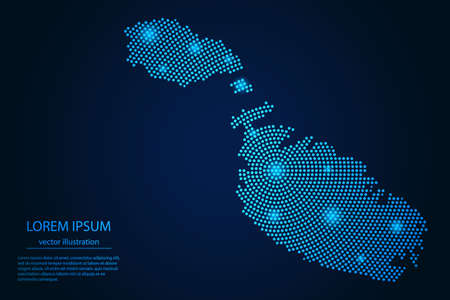 Abstract image Malta map from point blue and glowing stars on a dark background. vector illustration.