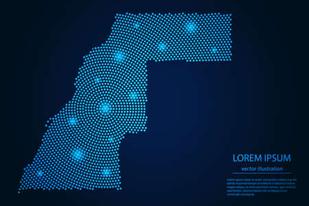 Abstract image Western Sahara map from point blue and glowing stars on a dark background. vector illustration.