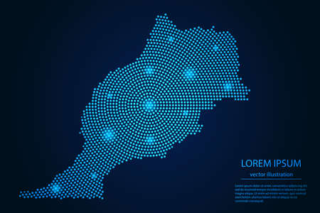Abstract image Morocco map from point blue and glowing stars on a dark background. vector illustration.