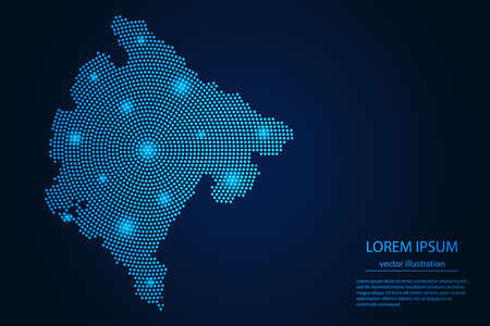 Abstract image Montenegro map from point blue and glowing stars on a dark background. vector illustration. 矢量图像