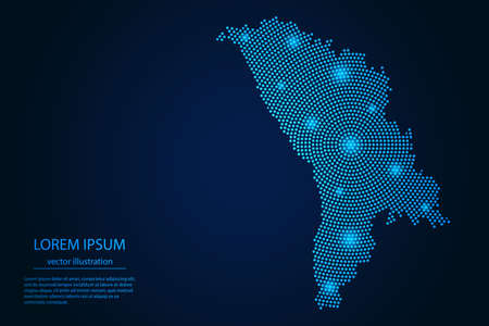 Abstract image Moldova map from point blue and glowing stars on a dark background. vector illustration. 矢量图像