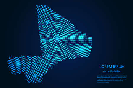 Abstract image Mali map from point blue and glowing stars on a dark background. vector illustration.