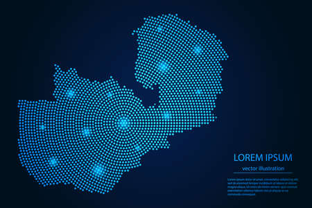 Abstract image Zambia map from point blue and glowing stars on a dark background. vector illustration.